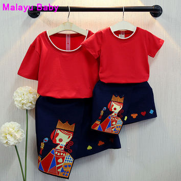 2016 summer styles girls clothing sets dress series Mother and daughter matching clothes, clothing printing Heart K series