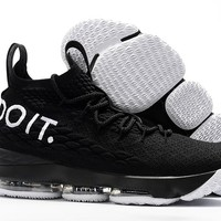 "Nike  LeBron James 15 XV  "" Just Do It ""Black Basketball Shoe"