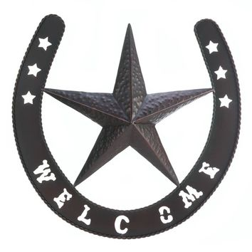 Western Star And Lucky Horseshoe Welcome Wall Decor