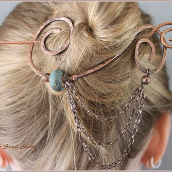 Copper Hair Slide with Blue Ceramic Bead, Bun Holder, Hair Pin, Hair Barrette, Beaded Hair Accessories, Hair Jewelry, Wire Hair Pin, Chain