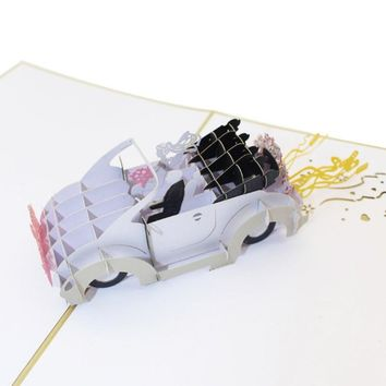Wedding Car 3D Laser Cut Pop Up Greeting Card Handmade Paper Craft Postcards Valentines' Day Gifts Invitations Cards