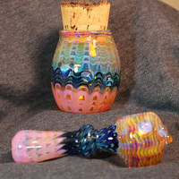 PURPLE and BLUES color changing glass pipe and jar set AMERICAN made