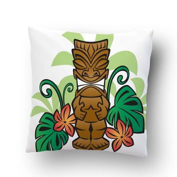Happy Tiki Throw Pillow Case from Surfer Bedding
