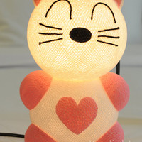 Cartoon baby Pink kitten love heart romantic cat pussy lantern bed head lamp handmade display light home present decor boy room