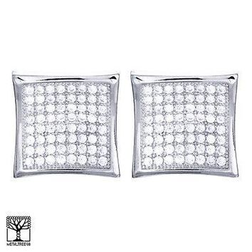 Jewelry Kay style Men's Iced Out Brass Silver Plated CZ Caved Square Screw Back Earrings SE 4776 S