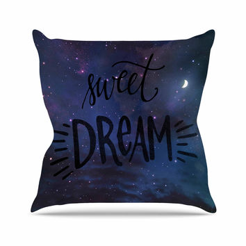 "Robin Dickinson ""Sweet Dream"" Black Purple Galaxy Throw Pillow"