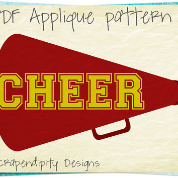 Cheerleading Applique Pattern - Cheer Applique Template / Girls Cheer Megaphone / Kid Girl Clothes / Teen Wall Hanging / Quilt Pattern AP221