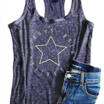 Strong Bold Fearless Star Print Tank