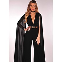Black flowing cape Sleeves Jumpsuit