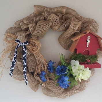 Burlap Barn Wreath, Red Barn Wreath, Spring on the Farm Wreath, Everyday Burlap Wreath, Red Barn Wreath, Summer Wreath with Cow