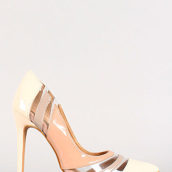 Tri-Tone Patent Clear Panel Pointy Toe Pump