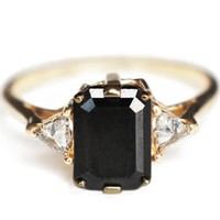 Anna Sheffield Square Black Diamond Bea Ring