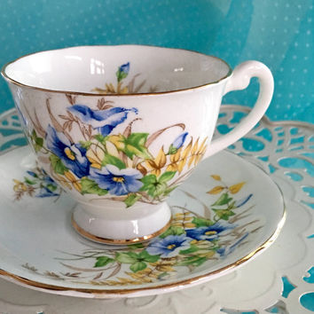 1950's Clarence Tea Cup and Saucer, Vintage Bone China Tea Cup, Morning Glories Tea Cup Set, English