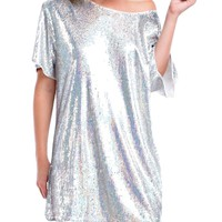 Oversized Holographic Sequin Shirt Dress