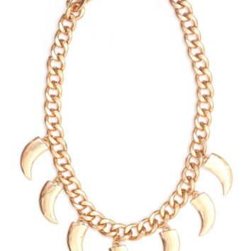 Curved Fangs Stations Necklace Gold Tone Horns Tribal Statement Choker NM33 Fashion Jewelry