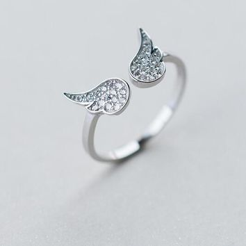 Women's Real. 925 Sterling Silver Jewelry Bird Feather/ Angel Wings Ring with white cz stone set Adjustable GTLJ1214