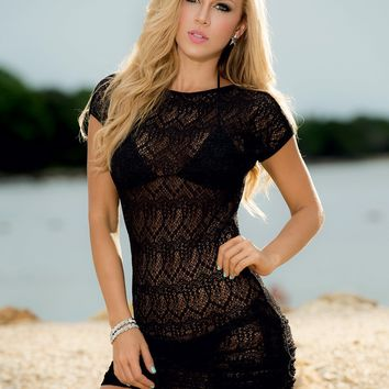 Tie Side Lace Cover Up