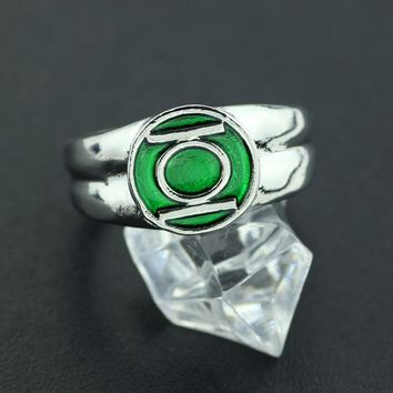 Trendy 2017 DC Comics Marvel Green Lantern Ring,the Superhero Green Enamel Silver Power Ring for Men Movie Jewelry Men Gift