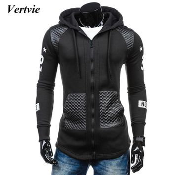 vertvie 2017 Autumn Zipper Hoodie Sweat Shirt Mens Patchwork Hoodies Hip Hop Hooded Pockets Striped Running Sportswear Jackets