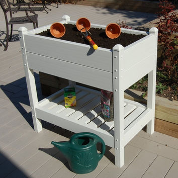 36-inch Wide Raised Planter Box in White Vinyl - Made in USA