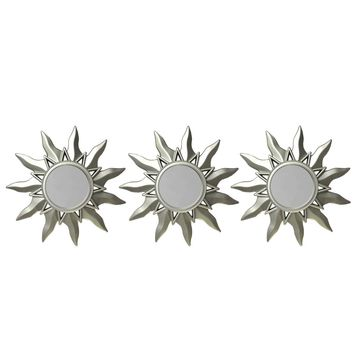 Set of 3 Myan Inspired Petite Sunburst Matte Champagne Silver Decorative Round Mirrors 9.5""