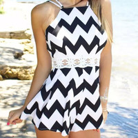 White Halter Neck Chevron Print Crochet Dress