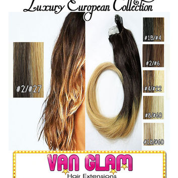 European, Ombre, Tape In, Hair Extensions, Brown to Honey