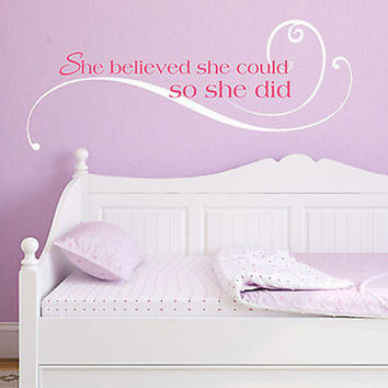 She Believed She Could So She Did Quote Vinyl Wall Decal Sticker