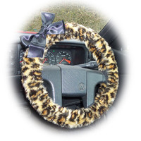 brown Leopard animal print faux furry fur fluffy fuzzy car Steering wheel cover with Black Bow