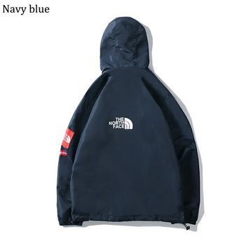 The North Face autumn and winter new tide brand waterproof and windproof jacket couple hooded jacket Navy blue
