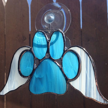 Blue Stained Glass Paw Print Suncatcher With Angel Wings