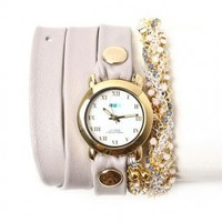 la mer - women's crystal plum chain wrap watch (nude/gold circle case) - La Mer | 80's Purple
