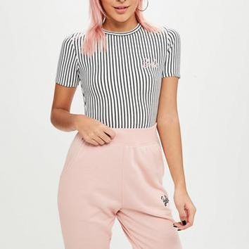 Missguided - Barbie x Missguided White Stripe Logo Bodysuit