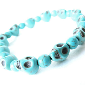 Yolo skull stretch bracelet in turquoise, hipster gift for her, stacking & layering, yolo, semi precious turquoise magnesite