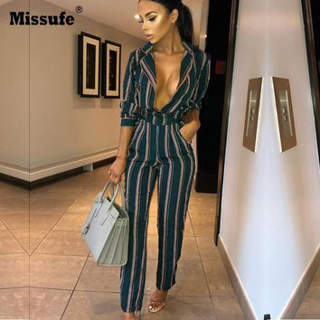 Missufe Lace Up Overalls Female Rompers Slim Playsuit Long Sleeve Bodysuits For Women Notched Striped Women Jumpsuits With Blelt