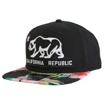 California Republic Bear Flag Flat Bill Snapback Hat - Tropical Floral Pattern