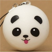 panda bear with tongue bun squishy cellphone charm kawaii