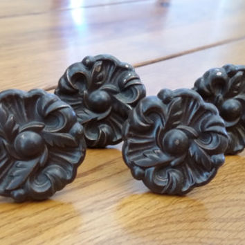 Set of 4 Vintage Round Ornate Drawer Door Knobs Hardware Perfect for Furniture Restoration Altered Art Repurpose Upcycle