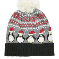 Penguin Fairisle Beanie - Grey
