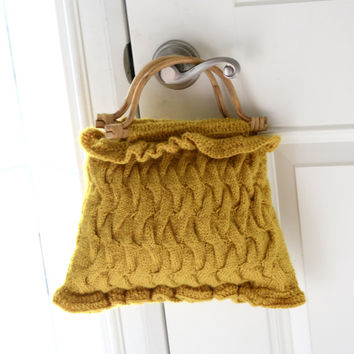 Handbag knit woollen mustard texture handbag woollen bag in mustard color /crochet Handbag/crochet purse with handles cane /bag and purse