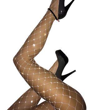 Women Rhinestone Fishnet Elastic Stockings Big Fish Net Tights Pantyhose