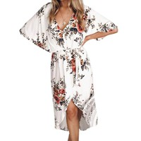Floral Summer Beach Sundress New Female Boho Elegant Women Dress Fashion Irregular Front Back Split Sexy Dresses Plus Size GV262