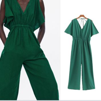 Summer's new women's versatile loose-front v-neck lace-up jumpsuit