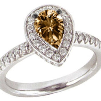 2.01 ct.champagne DIAMOND RING engagement pear shape
