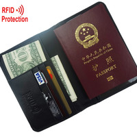MRF6 RFID BLOCKING leather passport wallet + top grain genuine cow Leather + leather passport cover+ RFID protection mens wallet
