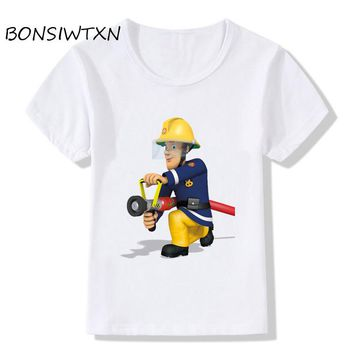 BONSIWTXN Fireman Sam Design Funny Children's T-Shirts Kids Rock N Roll Clothes Infant Toddler Tops Tees For Boys Girl