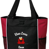 Personalized Elmo Loves Embroidered Tote Overnight Tote Diaper Bag 6 Colors Girl or Boy