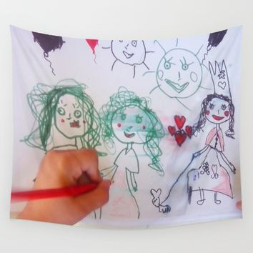 Me and my friends | Kids Drawing Wall Tapestry by Azima