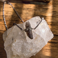 SMOKY BABY CHOKER - Crushed Pyrite Clear Smoky Quartz Crystal Point Boho Chic Statement Necklace Festival Style Delicate Gunmetal Chain