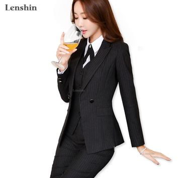 Lenshin 2 Pieces Set High-Quality Black Soft Striped Pant Suits Office Lady Business Uniform Style Women Formal Work Wear